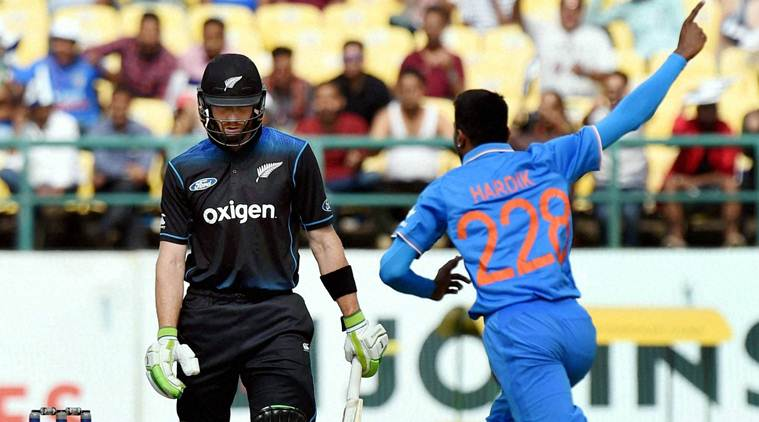 Dharamshala : India's Hardik Pandya exults after dismissing New Zealand batsman MJ Guptill in the first ODI match in Dharamsala on Sunday. PTI Photo by Shirish Shete  (PTI10_16_2016_000094B)