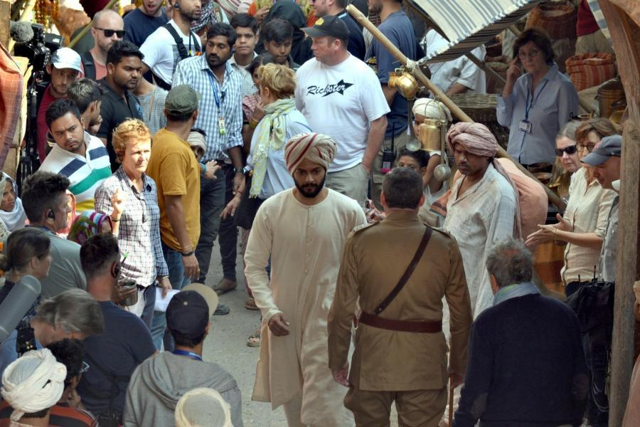 "Agra: Actor Ali Fazal during the shooting of the hollywood film ""Victoria & Abdul: The True Story of the Queen's Closet Confidant"" in Agra on Nov 17, 2016. (Photo: Pawan Sharma/IANS)"