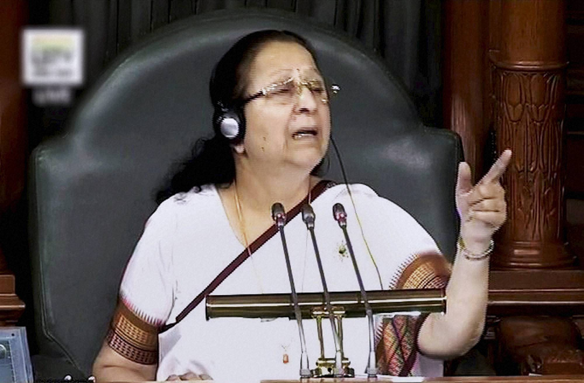 New Delhi: Speaker Sumitra Mahajan in the Lok Sabha in New Delhi on Tuesday. PTI Photo / TV GRAB    (PTI11_29_2016_000129B)