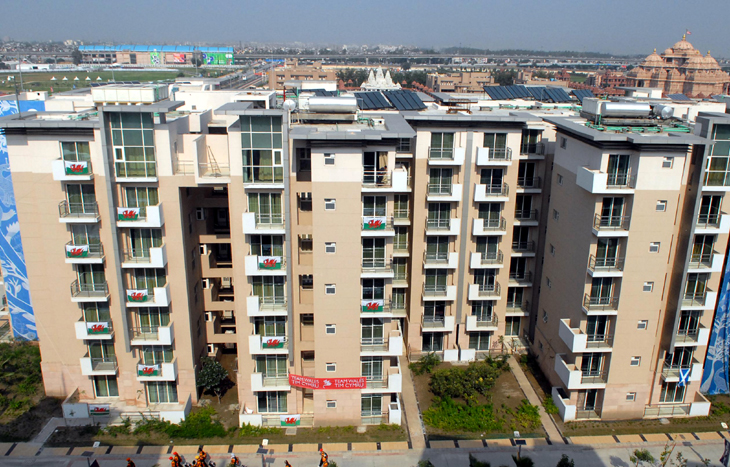view of  the Commonwealth Games village in New Delhi on September 25, 2010, ahead of the forthcoming Commonwealth Games. Extensive work remains to be done on the crisis-hit Delhi Commonwealth Games with barely a week to go.--Piyal bhattacharjee